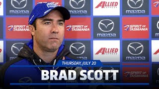 Brad Scott fronts the media ahead of the Round 18 clash against Essendon.