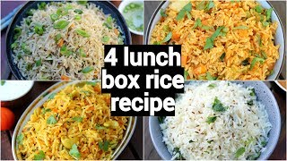 4 lunch box rice recipes | 4 easy & instant rice recipes | tiffin box recipes