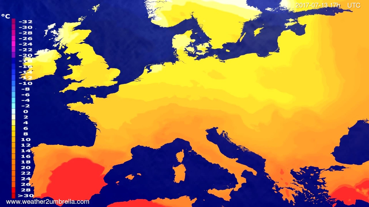 Temperature forecast Europe 2017-07-11