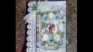 Free step by step tutorial on how to make this 8-1/2 x 6-1/2 mini album using Designs by Shellie Beauty in Blues paper collection ...