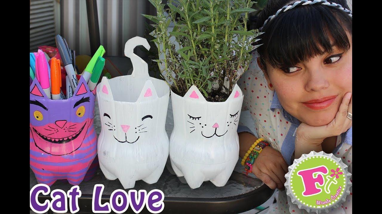 STREGATTO PORTAPENNE/FIORIERA ♥ Gatto ecologico con bottiglia della Coca Cola ♥ Riciclo Creativo
