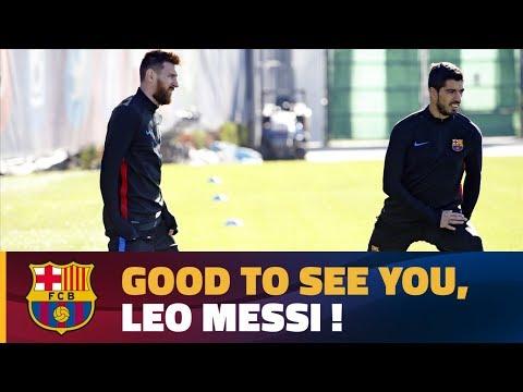 العرب اليوم - شاهد: ليونيل ميسى يعود إلى تدريبات برشلونة