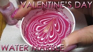 Valentine's Day Water Marble | DIY Nail Art Tutorial