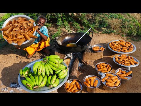 BAJJI !!! Plantain Bajji Prepared By My Daddy Arumugam / Village Food Factory