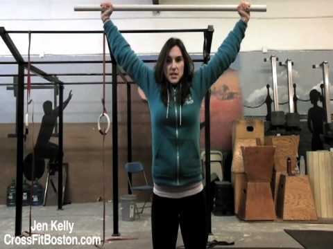 Overhead - Jen Kelly from CrossFit Boston demonstrates how to properly do an overhead squat.