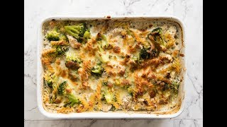 Made from scratch, 350 cal per serving, a veggie loaded chicken pasta bake that takes 5 minutes to prepare, smothered in all that creamy sauce....    http://www.recipetineats.com/healthy-chicken-and-broccoli-pasta-bake/