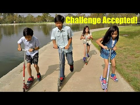 Kids Challenge: Scooter Razor Race At The Park - Doc vs E.L. vs Rocky vs Piper
