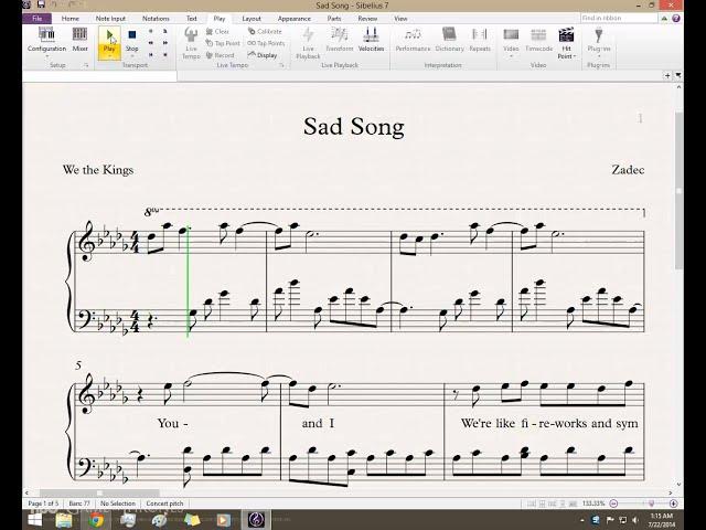 Sad Song We The Kings Ft Elena Coats Piano By Zadec ... Sad Song We The Kings
