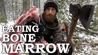 Video Eating BONE MARROW like CAVEMAN in the FOREST | 100-YEAR-OLD AXE!!! | Bow Drill Fire From Scratch MP3, 3GP, MP4, WEBM, AVI, FLV Agustus 2018