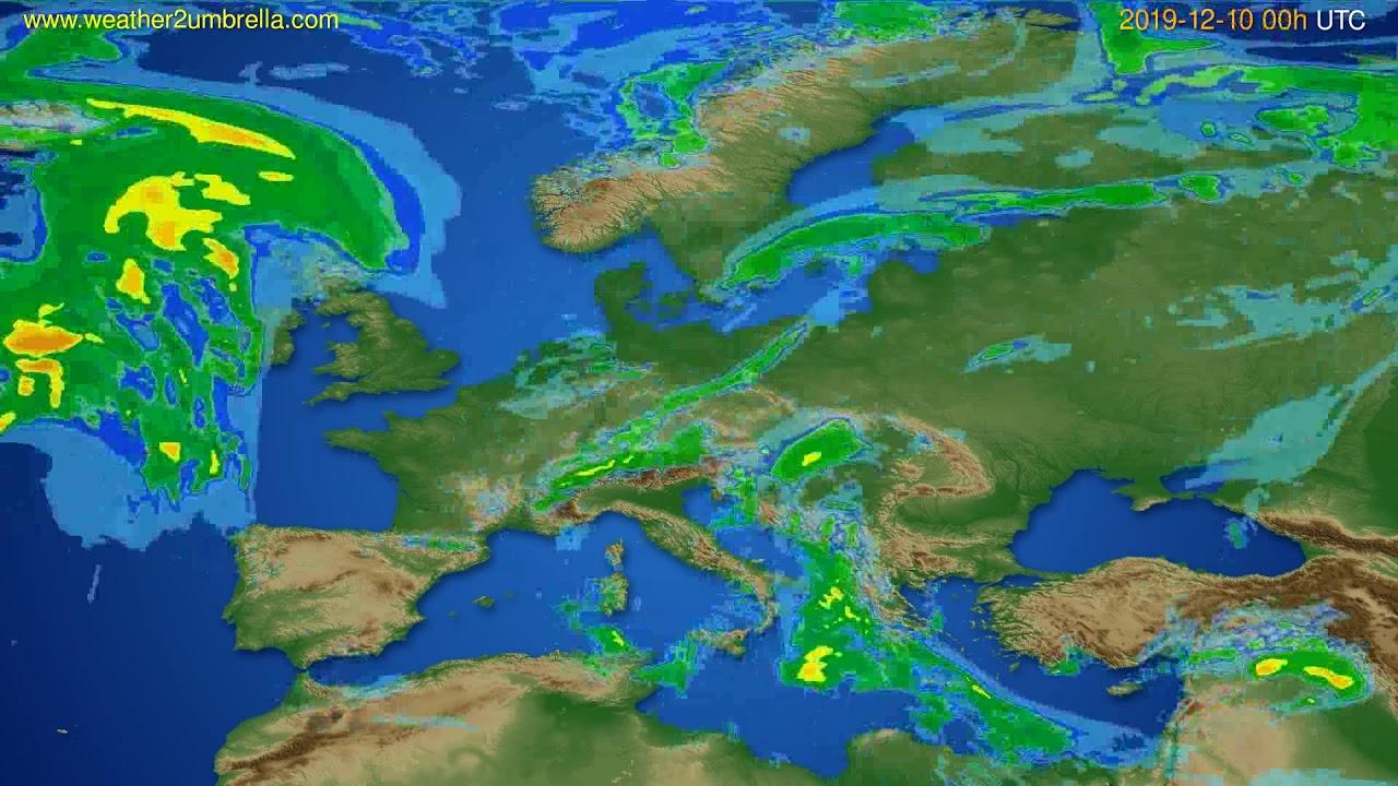 Radar forecast Europe // modelrun: 12h UTC 2019-12-09