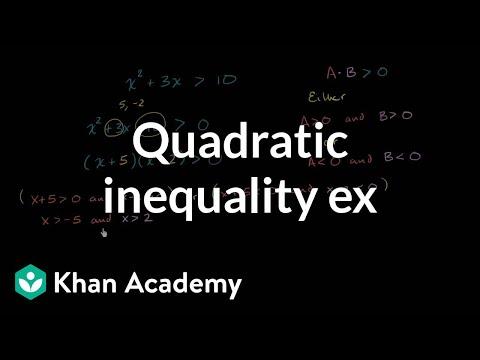 Quadratic Inequalities Video Khan Academy