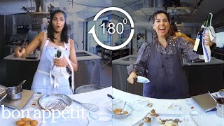 Padma Lakshmi Tries to Keep Up with a Professional Chef in 180º | Back-to-Back Chef | Bon Appétit