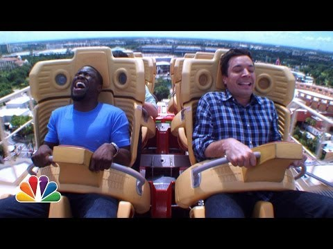 Kevin Hart and Jimmy Ride Roller Coaster