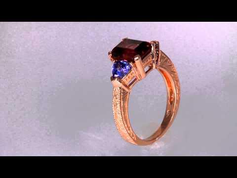 Rhodolite Garnet Ring 3.62 Carat