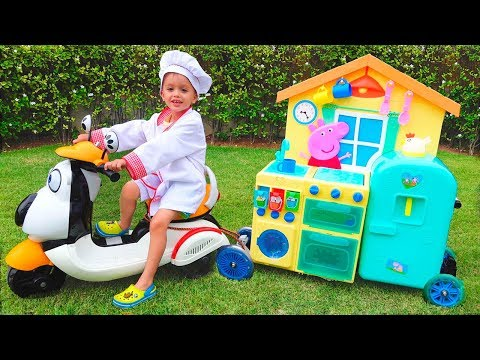 Child Vlad pretend play Toy Cafe on Wheels