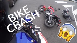 Watch Redline Ravens having fun on R1, R6 and the Grom. On their way to practice wheelies, the Grom took a hit!