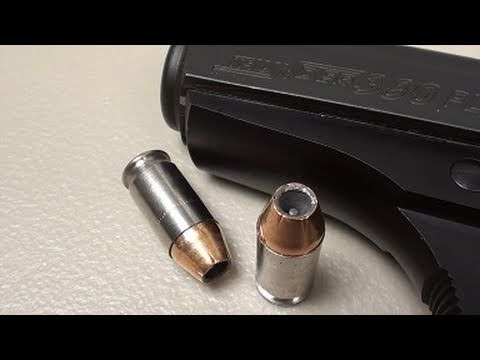 Federal .380 ACP 90 gr Hydra-Shok JHP:  SIM-TEST* w/denim