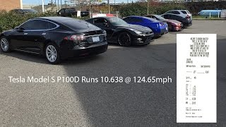 A completely stock one month old 2017 Tesla Model S P100D with no changes to anything, original interior, original wheels, original tires just ran a 10.638 second pass, backed up with a 10.656 pass and a 10.669 pass.