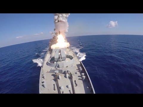 Удар крылатыми ракетами «Калибр» по объектам ИГИЛ в Сирии кораблями ВМФ РФ в Средиземном море - DomaVideo.Ru