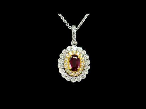 Lady's 18k White/Yellow Gold Ruby and Diamond Pendant