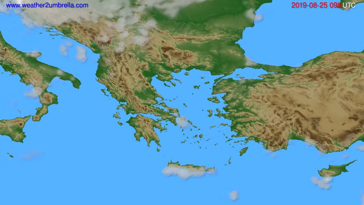 Cloud forecast Greece // modelrun: 12h UTC 2019-08-23