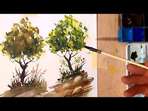 Acuarela. Como Pintar Arboles - Watercolor. Trees