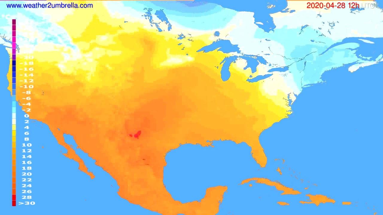 Temperature forecast USA & Canada // modelrun: 00h UTC 2020-04-28