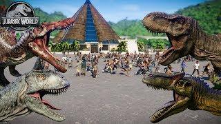 Spinosaurus, Carnotaurus, T-Rex & Allosaurus Breakout! Jurassic World Evolution