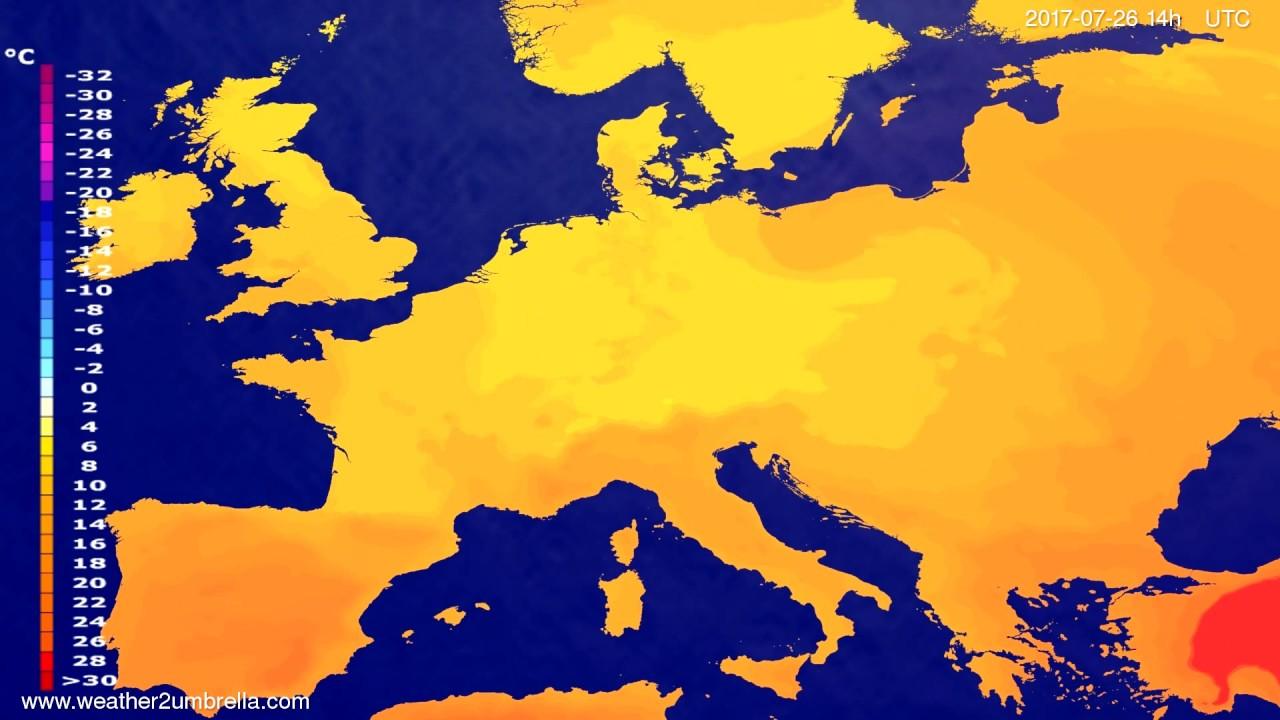 Temperature forecast Europe 2017-07-22