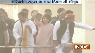 UP Polls 2017: Dimple Yadav Joins Akhilesh and Rahul Roadshow in Varanasi