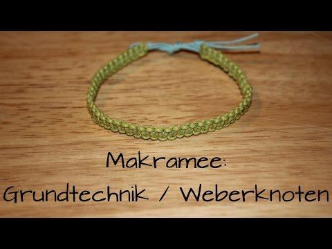 Makramee: Weberknoten (Grundtechnik) Armband/Schlüsselanhänger