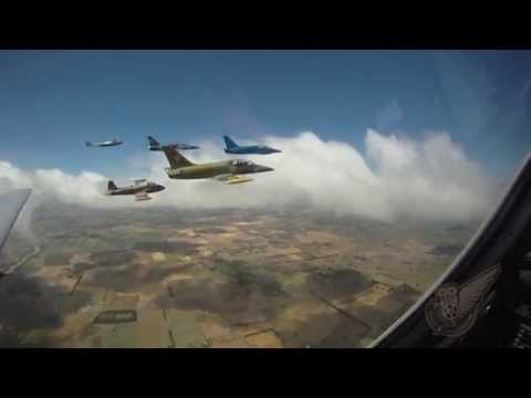 Six jet fighter trainers are shown...