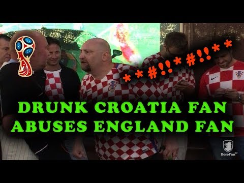 DRUNK CROATIA FAN GETS ANGRY WITH ENGLAND FAN IN MOSCOW OVER NATIONAL INSULT!!