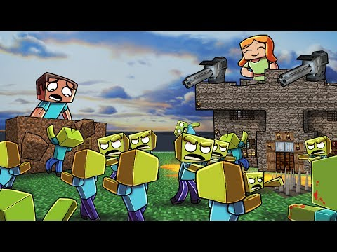 Minecraft | ZOMBIE BASE CHALLENGE - Zombie Horde Attacks! (Noob vs Pro) (видео)