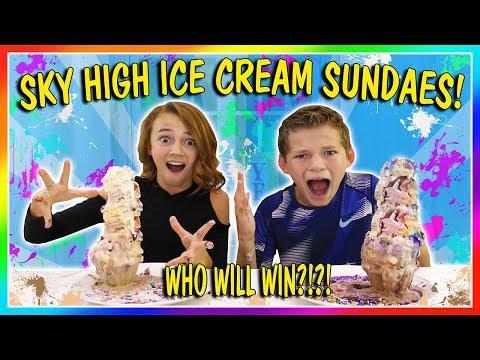 SKY HIGH ICE CREAM SUNDAE CHALLENGE | We Are The Davises