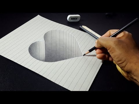 How to Draw a 3D Hole Heart Shape - Easy 3D Drawings for Kids (видео)