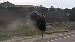 WATCH This Car Get AIRBORNE Off Side of Highway in Front of Motorcyclist!