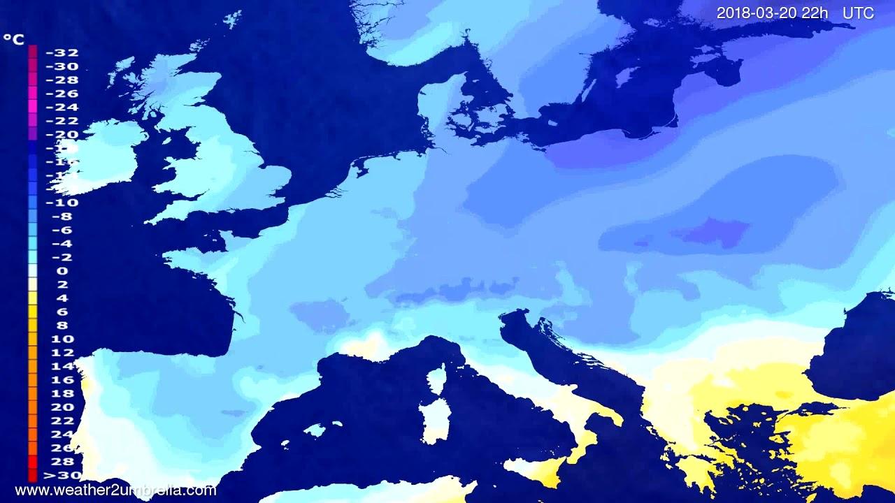 Temperature forecast Europe 2018-03-18