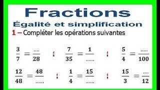 Maths 6ème - Fractions égalité et simplification Exercice 5
