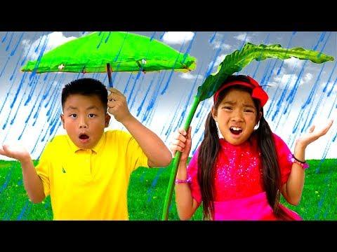 Rain Rain Go Away Song | Emma & Jannie Sing-Along Nursery Rhymes Kids Songs