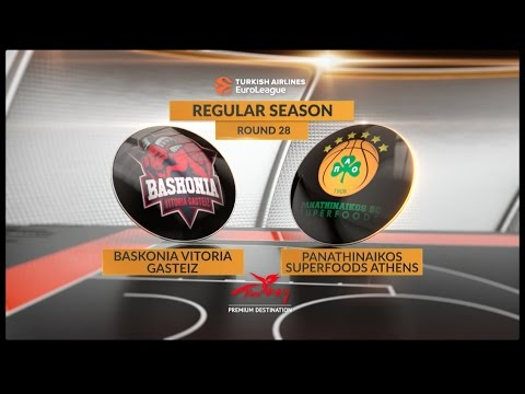 EuroLeague Highlights RS Round 28: Baskonia Vitoria Gasteiz 63-72 Panathinaikos Superfoods Athens