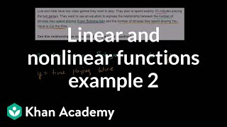 Linear and nonlinear functions (example 2) | 8th grade | Khan Academy