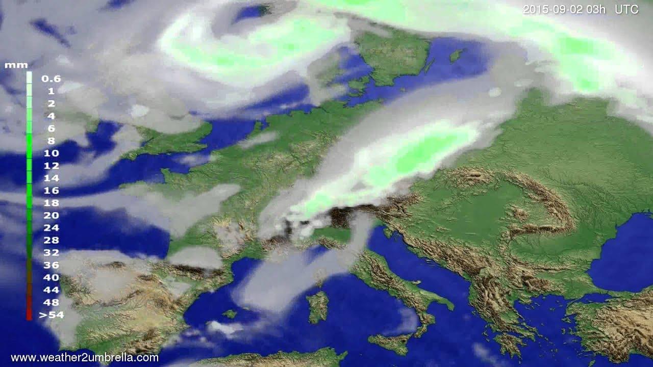 Precipitation forecast Europe 2015-08-30