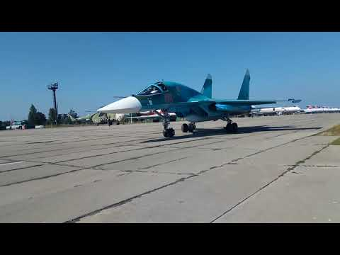 Первые Су-34 прибыли вЧелябинск. Посадка. Рулежка. Торжественный марш