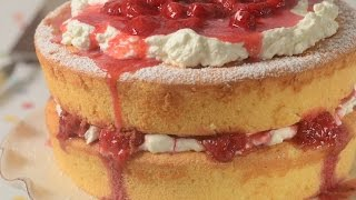 Recipe here: http://www.joyofbaking.com/cakes/StrawberryChiffonShortcake.html Stephanie Jaworski of Joyofbaking.com demonstrates how to make a Strawberry Chiffon Shortcake. Up until now, I always made Strawberry Shortcake using scones that were cut in half and filled with fresh strawberries that were mascerated in sugar and whipped cream. While a real family favorite, sometimes I like to make it another way. What I do is to use two layers of a light and spongy Golden Chiffon Cake. I then sandwich the layers together with a flavorful Strawberry Compote and lots of Whipped Cream. It's so delicious, I just had to share this recipe with you.New Recipes every Thursday before noon Eastern time. Join our Facebook Page: http://www.facebook.com/joyofbaking