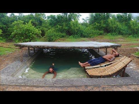 Nuoret miehet rakentaa uima-altaan – Kelpaa uiskennella