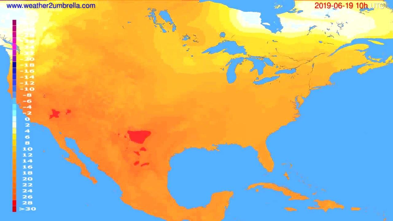 Temperature forecast USA & Canada // modelrun: 00h UTC 2019-06-17