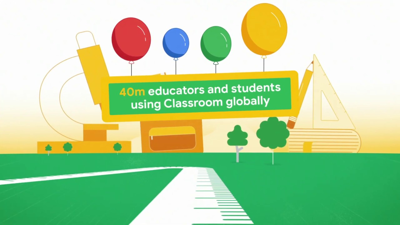 Animated video showing Google Classroom facts, including: Classroom is now available in 238 countries, 40m educators and students use Classroom globally, 100s of pieces of feedback from educators read, 100s of Classroom features launched.