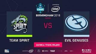 Spirit vs Evil Geniuses, ESL One Birmingham, game 2 [Lum1Sit, 4ce]