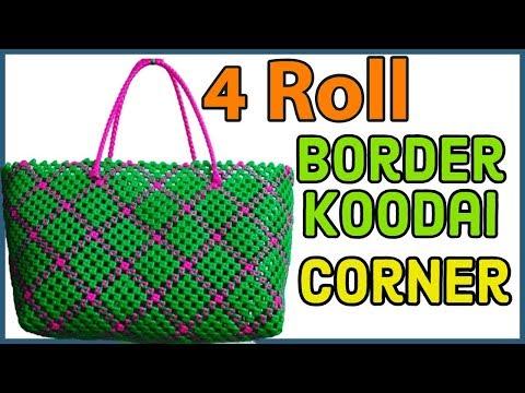 Tamil - Corner making on 4 Roll Border Diamond crosscut Koodai Tutorial